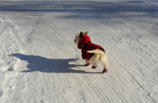 Walking in her winter boots