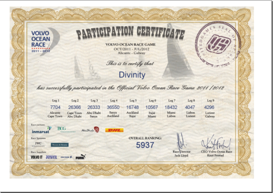 Volvo Ocean Race Game Certificate