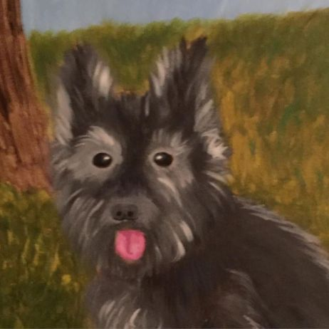 A painting of Sparky, a 16-year old Cairn Terrier