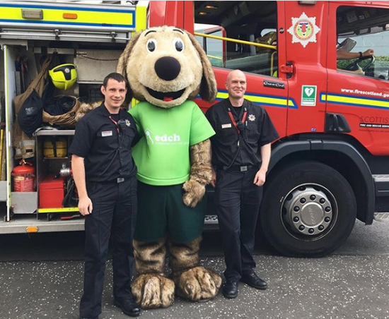 Hamish the Mascot with Ross and Iain from Marionville Red Watch Fire And Rescue Service